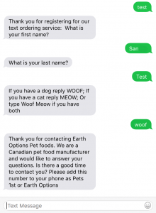 screenshot of iOS text messages